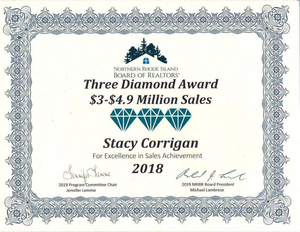 Stacy Diamond Sales Award 2018